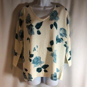 NEW Pierri Blue Floral Sweater Size 1X